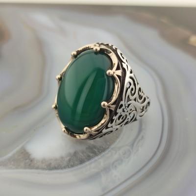 925 Ayar Gümüş Yeşil Akik Taşlı Kral Tacı Erkek Yüzük