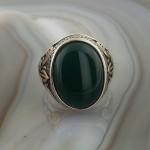 925 Ayar Gümüş Yeşil Oniks Taşlı Zambak İşlemeli Erkek Yüzük