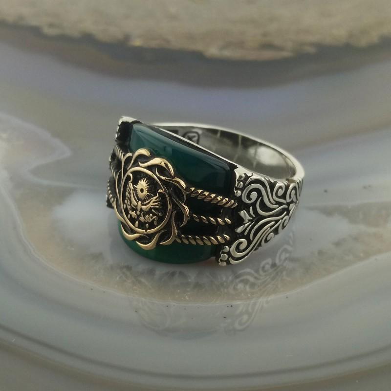 925 Ayar Gümüş Yeşil Akik Taşlı Osmanlı Devlet Arması Erkek Yüzük
