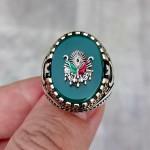 925 Ayar Gümüş Yeşil Akik Taşlı Osmanlı Arması İşlemeli Erkek Yüzük