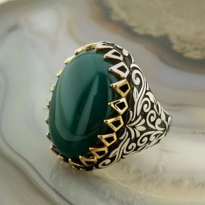 925 Ayar Gümüş Yeşil Akik Taşlı Bronz Tırnaklı Erkek Yüzük