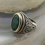 925 Ayar Gümüş Yeşil Taşlı Sarmaşık Desenli Erkek Yüzük
