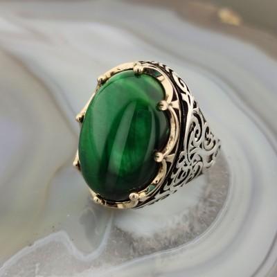 925 Ayar Gümüş Yeşil Kaplan Gözü Taşlı Kral Tacı Erkek Yüzük