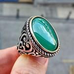 925 Ayar Gümüş Yeşil Kapşon Taşlı Burgu İşlemeli Erkek Yüzük