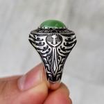 925 Ayar Gümüş Kedi Gözü Taşlı Kılıç Motifli Mikro Taş İşlemeli Erkek Yüzük