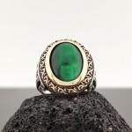 925 Ayar Gümüş Yeşil Kedi Gözü Taşlı Erkek Yüzük