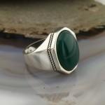 925 Ayar Gümüş Yeşil Zirkon Taşlı Sade Erkek Yüzük