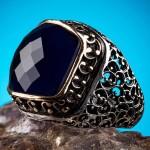 925 Ayar Gümüş Mavi Taşlı Kalem İşlemeli Erkek Yüzük
