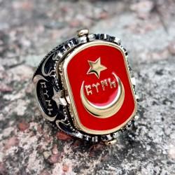 925 Ayar Gümüş Kırmızı Mineli Ay Yıldız Siyah Mineli Bozkurt Yüzük