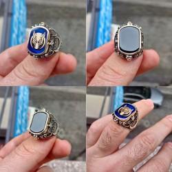 Siyah taşlı börü motifli mavi mineli erkek gümüş yüzük