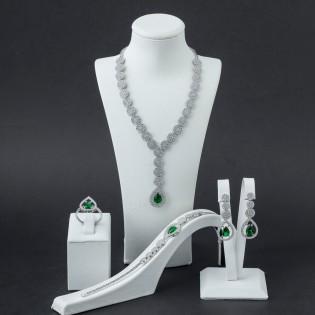 925 Ayar Gümüş Yeşil Zirkon Taşlı Set