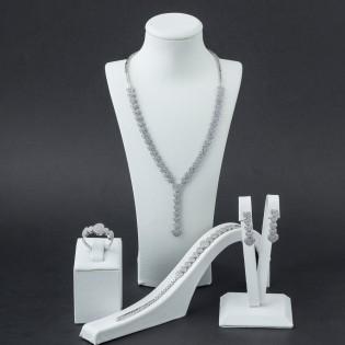 925 Ayar Gümüş Zirkon Taşlı Kalp Model Set