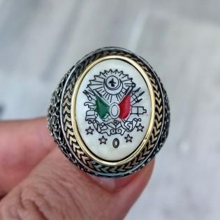 925 Ayar Gümüş Osmanlı Devlet Armalı Sedef Taşlı Erkek Yüzük