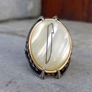 Sedef Taşlı Kartal Pençesi Elif Gümüş Yüzük