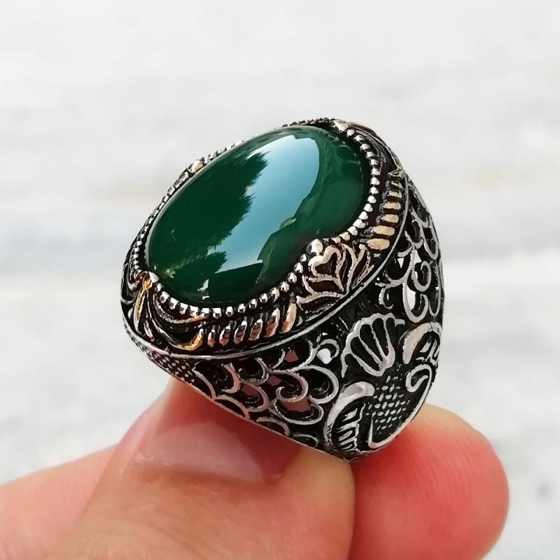Yeşil Doğal Zirkon Taşlı Vav Desenli Gümüş Yüzük