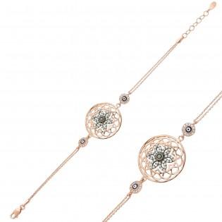Gümüş Rose Yaşam Çiçeği Bileklik