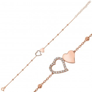 Gümüş Dorissa İki Kalp Bileklik