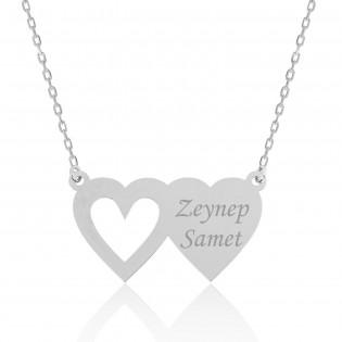 Gümüş İki Kalp İsimlik Kolye