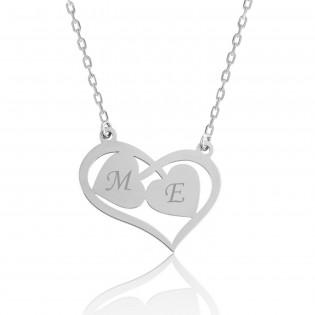 Gümüş Birleşen Kalpler İsimlik Kolye