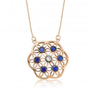 Gümüş Mavi Yaşam Çiçeği Kolye