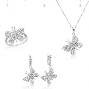 Gümüş Zirkon Taşlı Kelebek Set
