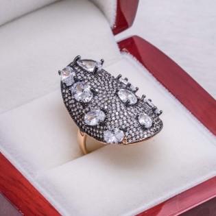 925 Ayar Gümüş Elmas Montür Oval Model Bayan Yüzük