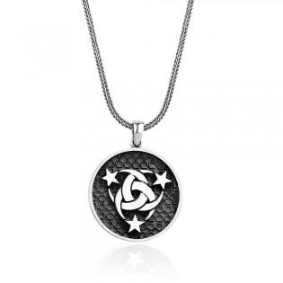 Devlet-Ebed-Müddet Motifli Erkek Kolye ve 55 cm Gümüş Zincir