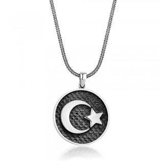 Gümüş Ay Yıldız Erkek Kolye ve 55 cm Gümüş Zincir