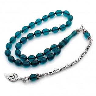 925 Ayar Gümüş Mavi Renk Sıkma Kehribar Tesbih