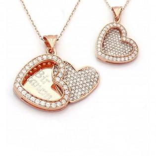 İsim Yazılı Kalpli Rose Model Gümüş Bayan Kolye