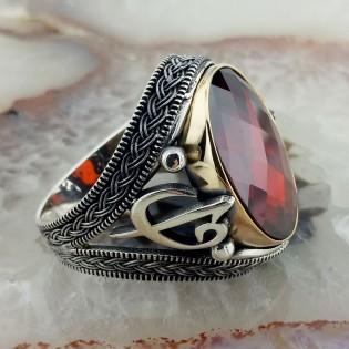 Kırmızı Taşlı Elif Vav Gümüş Yüzük