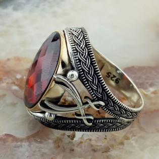 Kırmızı Taşlı Hz. Ali Kılıcı Zülfikar Gümüş Yüzük