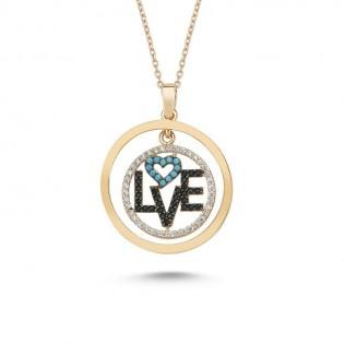 Love Yazılı Özel Tasarım Gümüş Kolye