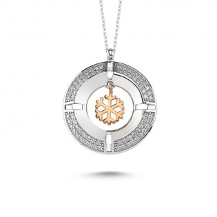 Madalyon Kar Tanesi  Gümüş Kolye