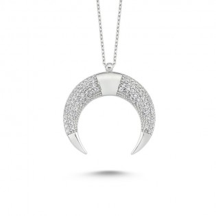 Özel Tasarım Hilal Gümüş Kolye
