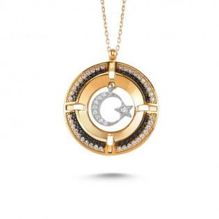 Madalyon Ay Yıldız Figürlü Gümüş Kolye