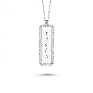 Kişiye Özel Zirkon Taşlı İsim Yazılabilir Gümüş Kolye